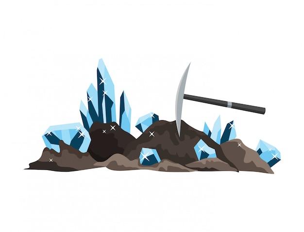 Projeto de recursos naturais. tesouro nacional pedras preciosas. equipamento para indústria de mineração alta antiga Vetor Premium
