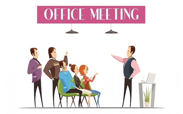 Projeto de reunião do escritório incluindo chefe Vetor grátis