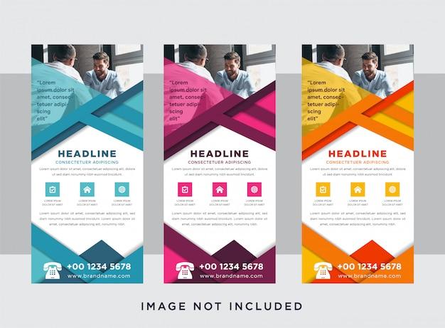 Projeto de roll-up banner horizontal, conceito do negócio. modelo gráfico para exposições para seminário, layout para colocação de foto. suporte universal para conferência, abstrato geométrico. Vetor Premium