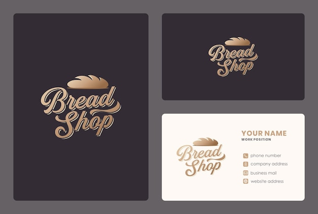 Projeto de rotulação de loja de pão com modelo de cartão. Vetor Premium