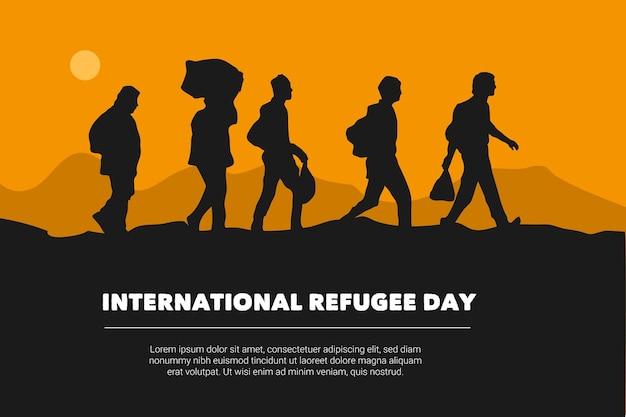 Projeto de silhuetas de dia mundial dos refugiados Vetor grátis