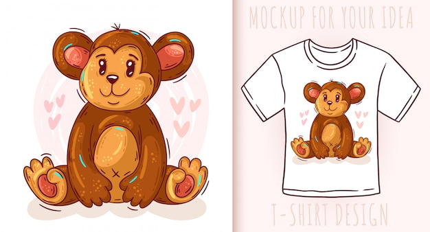 Projeto De T Shirt Bonito Macaco Bebe Dos Desenhos Animados
