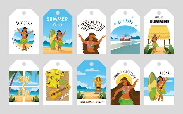 Projeto de tags de promo vivas para ilustração vetorial de havaí. elementos e texto havaianos. conceito de verão e férias Vetor grátis