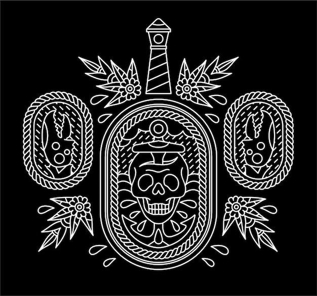 Projeto de tatuagem de caveira de marinheiro. Vetor Premium