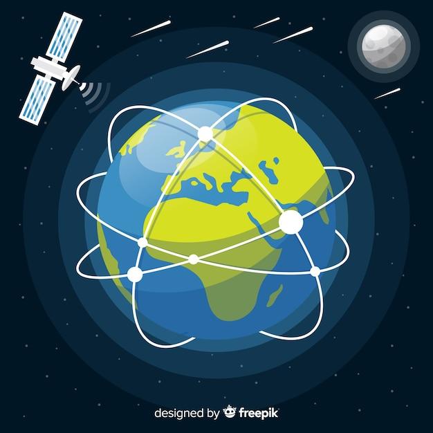 Projeto de terra do planeta com nave espacial Vetor grátis