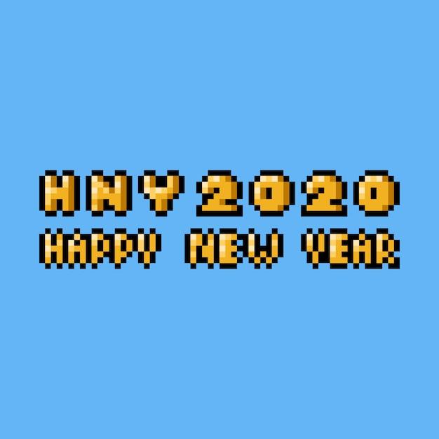 Projeto de texto pixel art feliz ano novo 2020. Vetor Premium