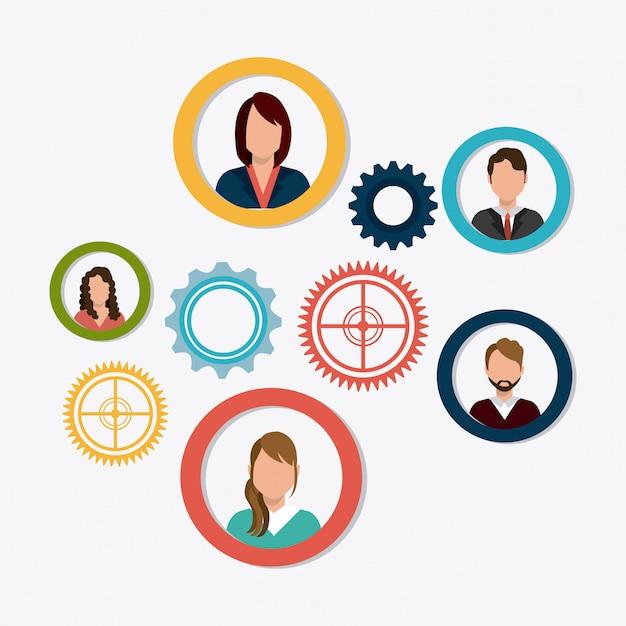 Projeto de trabalho em equipe de negócios. Vetor Premium