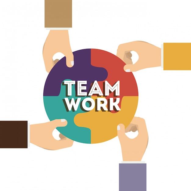 Projeto de trabalho em equipe, ilustração vetorial. Vetor Premium
