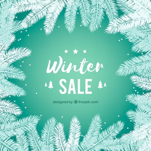 Projeto de venda de inverno com galhos de abeto Vetor grátis