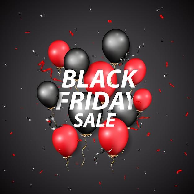 Projeto de venda de sexta-feira negra com balões e confetes Vetor Premium