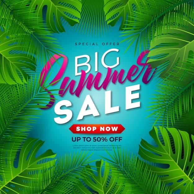 Projeto de venda de verão com folhas de palmeira tropical em fundo azul Vetor Premium