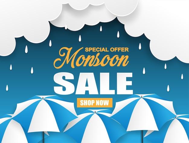 Projeto de venda temporada de monções Vetor Premium