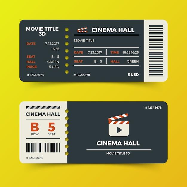 Projeto de vetor de ingressos de cinema de cinema moderno Vetor Premium