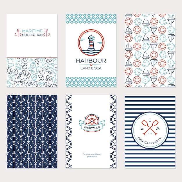 Projeto de viagem de verão. conjunto de ilustração de coleção marítima Vetor grátis
