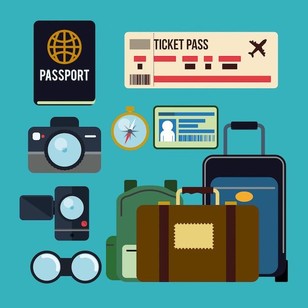 Projeto de viagem. Vetor Premium