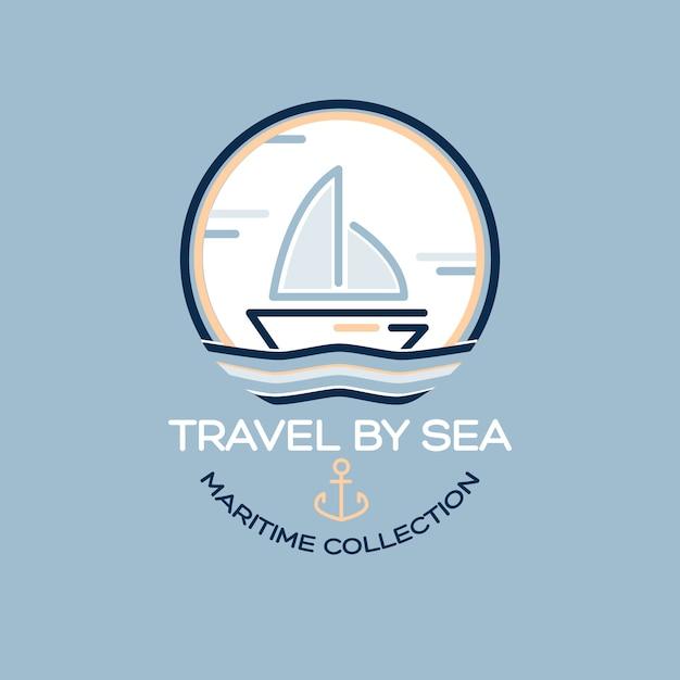 Projeto de viagens de verão - barco a vela. ilustração de coleção marítima Vetor grátis