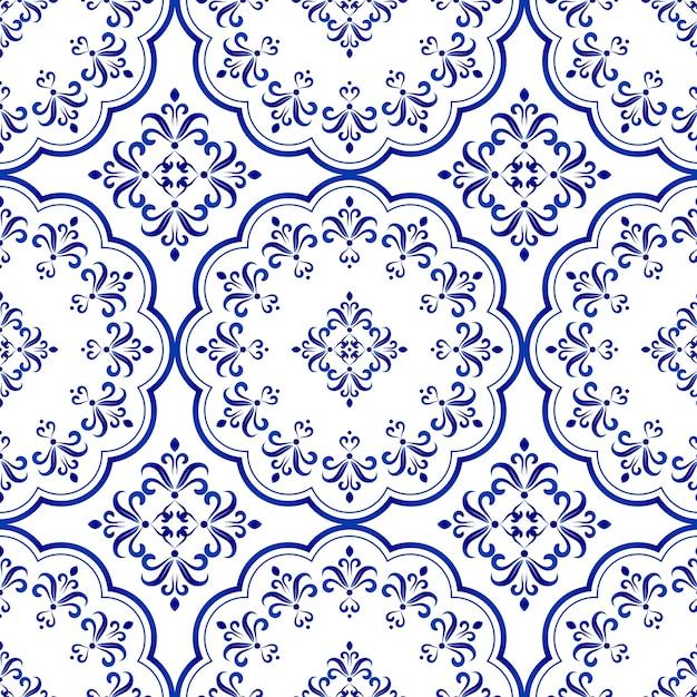 Projeto decorativo telha floral, sem costura azul e branco padrão de cerâmica Vetor Premium