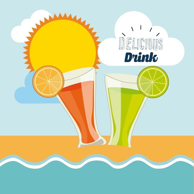 Projeto delicioso bebida, ilustração vetorial eps10 gráfico Vetor Premium