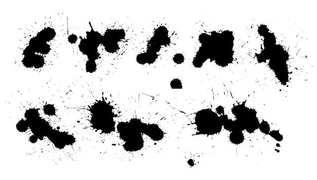 Projeto detalhado de coleção de respingos de tinta preta Vetor grátis