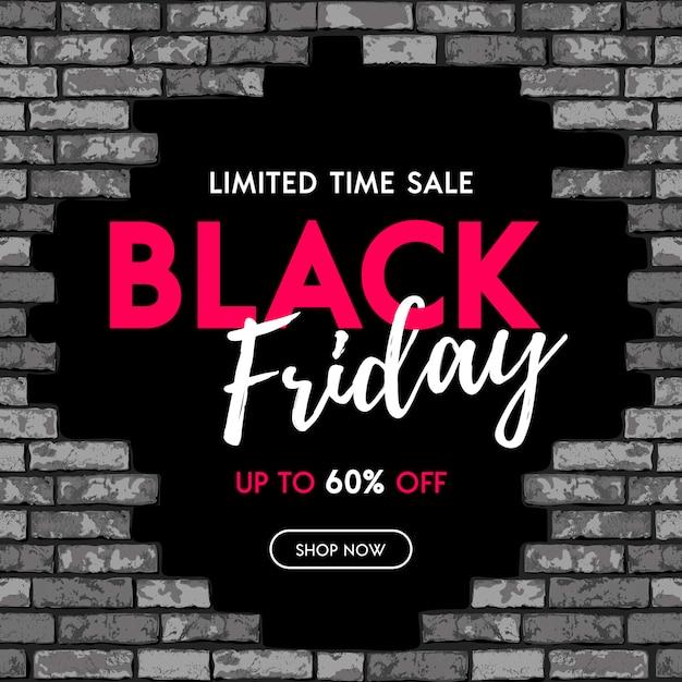 Projeto do banner de venda da black friday com buraco negro na parede de tijolos do grunge Vetor Premium