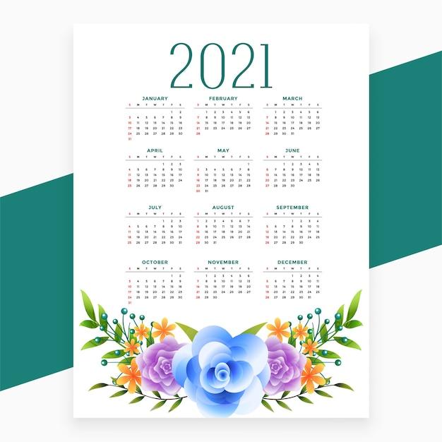 Projeto do calendário 2021 com tema de flores Vetor grátis