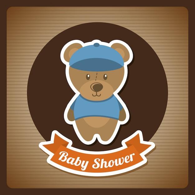 Projeto do chuveiro de bebê sobre o fundo marrom Vetor Premium
