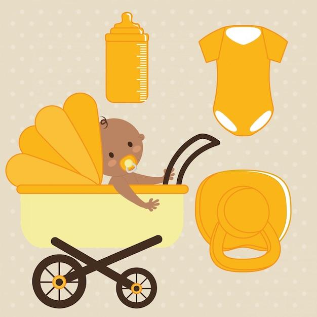 Projeto do chuveiro de bebê Vetor Premium