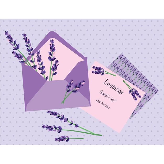 Projeto do convite lavender Vetor grátis