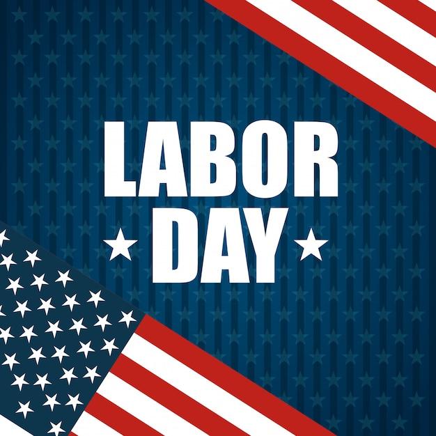 Projeto do dia do trabalho e bandeiras americanas Vetor grátis