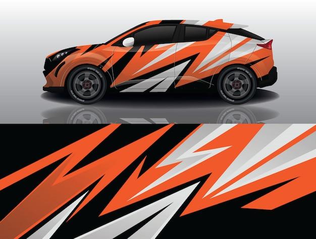 Projeto do envoltório do decalque do carro suv Vetor Premium