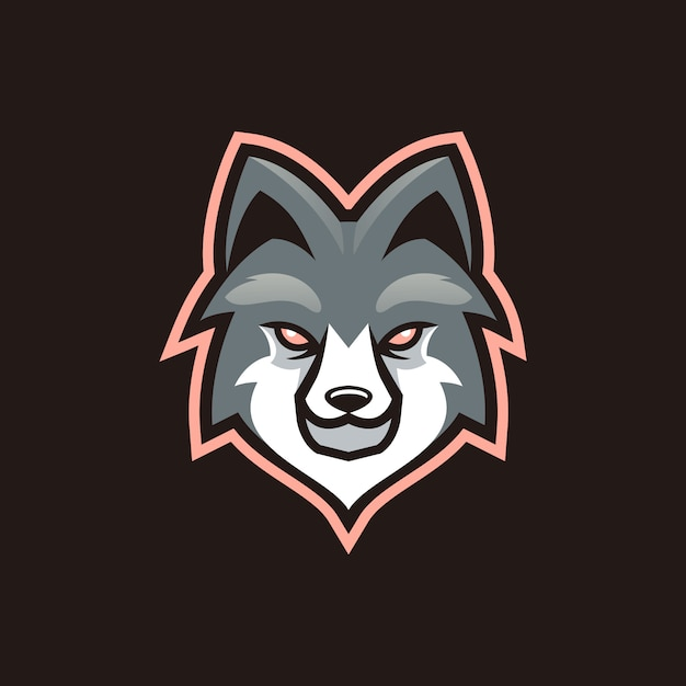 Projeto do esporte da mascote do lobo Vetor Premium