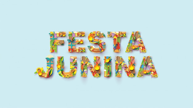 Projeto do festival da tipografia de festa junina na arte de papel e no estilo liso com bandeiras do partido e a lanterna de papel. Vetor Premium