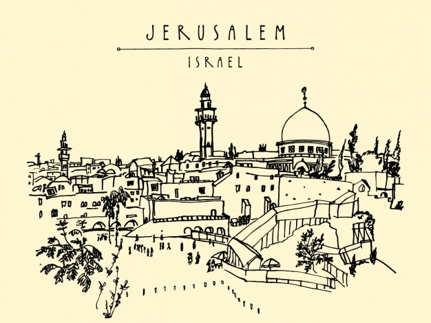 Projeto do fundo do jerusalem Vetor grátis