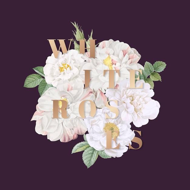 Projeto do fundo rosas brancas Vetor grátis