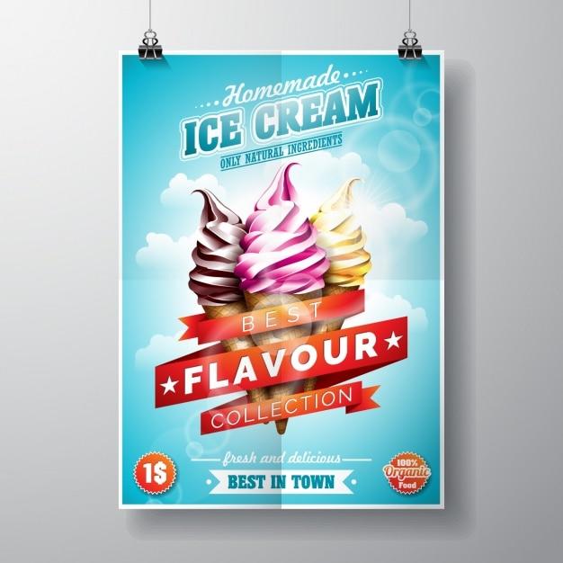 Projeto do gelado poster Vetor grátis