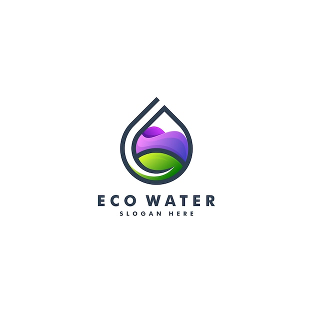 Projeto do logotipo da água e da folha. logotipo da natureza Vetor Premium