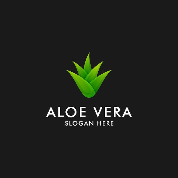Projeto do logotipo de aloe vera. símbolo do ícone de planta herbária Vetor Premium