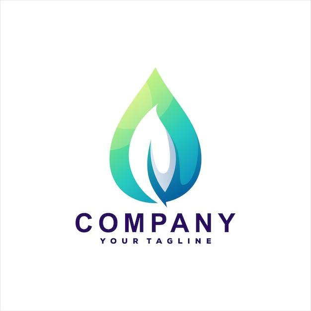 Projeto do logotipo do gradiente de queda das folhas Vetor Premium