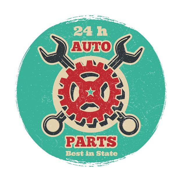 Projeto do logotipo do serviço de reparações do veículo de estrada do vintage. bandeira de serviço de carro de grunge Vetor Premium