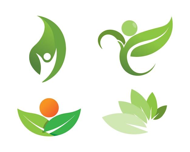 Projeto do logotipo do vetor da folha da árvore, conceito eco-amigável. Vetor Premium