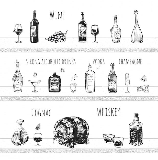 Projeto do menu do bar. bebidas alcoólicas fortes, garrafa de vinho e copo de vinho, dose de vodka, champanhe, conhaque e uísque com ícones do vetor de gelo. Vetor Premium