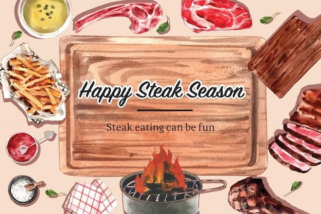 Projeto do quadro de bife com carne grelhada, ilustração de aquarela de batatas fritas. Vetor grátis