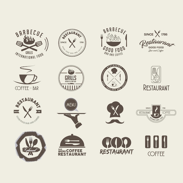 projeto do restaurante logotipo Vetor grátis