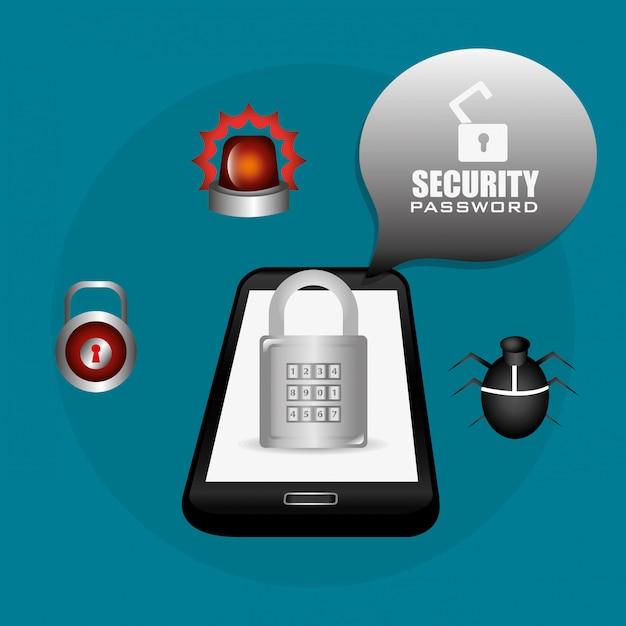 Projeto do sistema de segurança. Vetor Premium