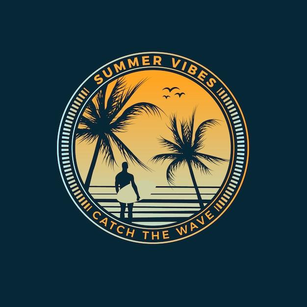 Projeto do t-shirt das vibrações do verão Vetor Premium