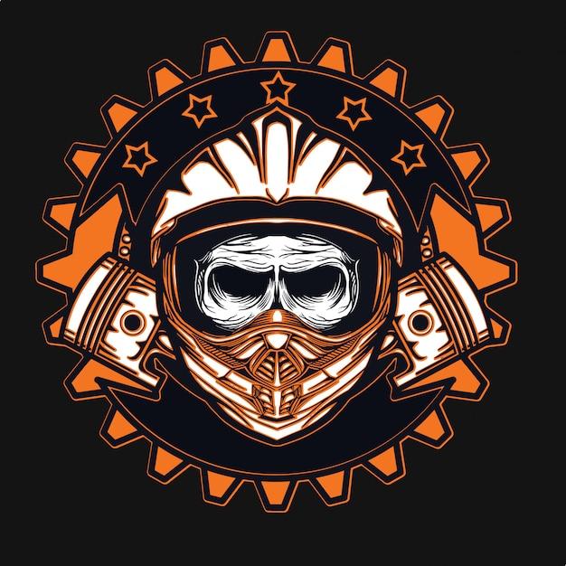 Projeto do t-shirt do motocross do piloto Vetor Premium