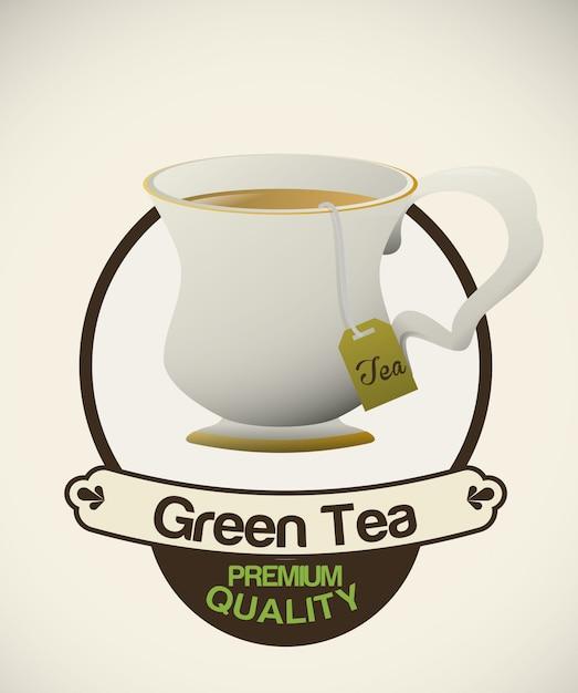 Projeto do tempo do chá Vetor Premium