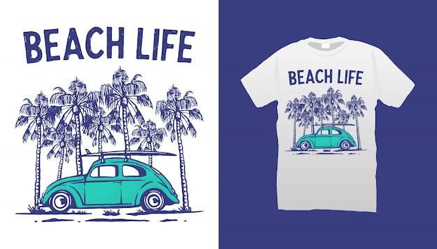 Projeto do tshirt da vida da praia Vetor Premium