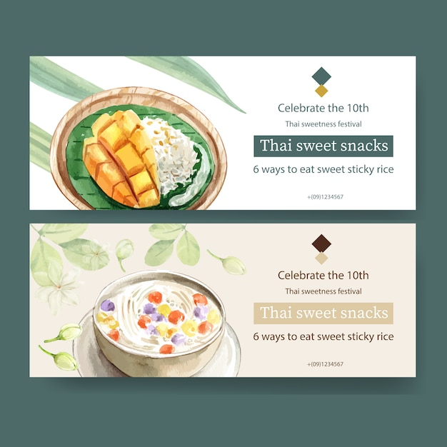 Projeto doce tailandês bandeira com arroz, manga, ilustração em aquarela bua loi. Vetor grátis