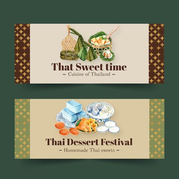 Projeto doce tailandês da bandeira com mini castella, ilustração da aquarela das linhas douradas. Vetor grátis